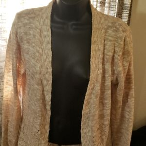 Belldini open front cardigan white and tan
